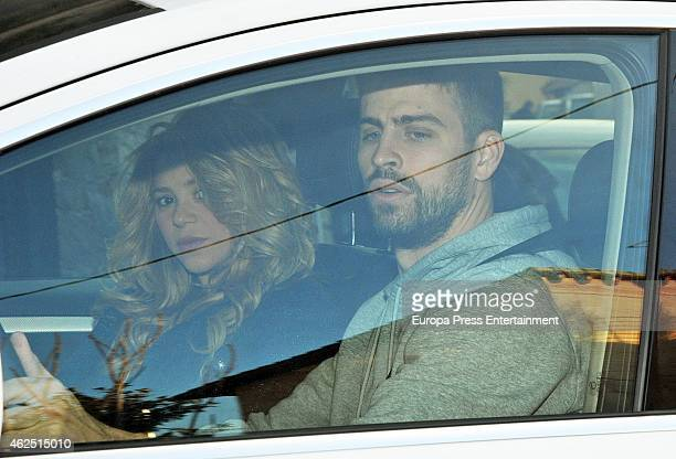 Gerard Pique and Shakira are seen arriving at the school of their son Milan a few hours before going to Teknon Hospital where Shakira is going to...