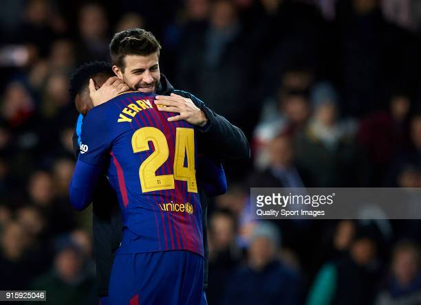 Gerard Pique and Yerry Mina of Barcelona celebrates the victory during the Semi Final Second Leg match of the Copa del Rey between Valencia CF and FC...