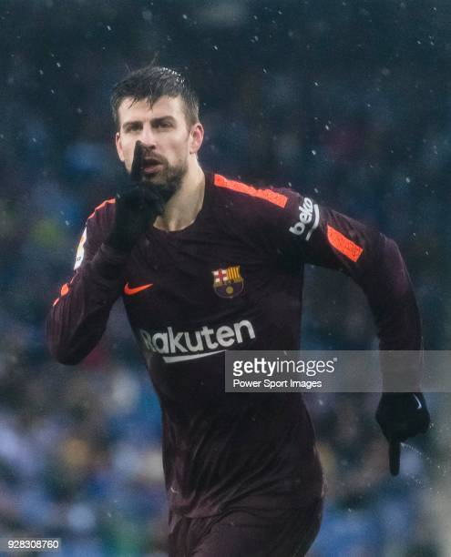 Gerard Pique Bernabeu of FC Barcelona celebrates after scoring his goal during the La Liga 201718 match between RCD Espanyol and FC Barcelona at RCDE...