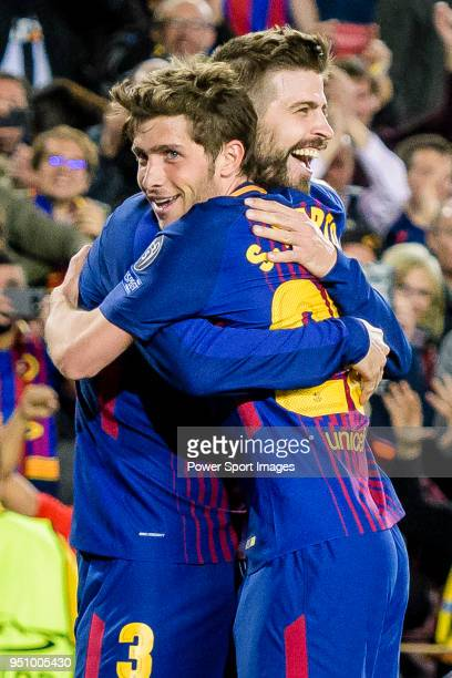 Gerard Pique Bernabeu of FC Barcelona celebrates after scoring his goal with Sergi Roberto Carnicer of FC Barcelona during the UEFA Champions League...