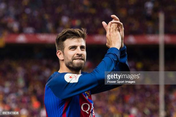 Gerard Pique Bernabeu of FC Barcelona during the Copa Del Rey Final between FC Barcelona and Deportivo Alaves at Vicente Calderon Stadium on May 27...
