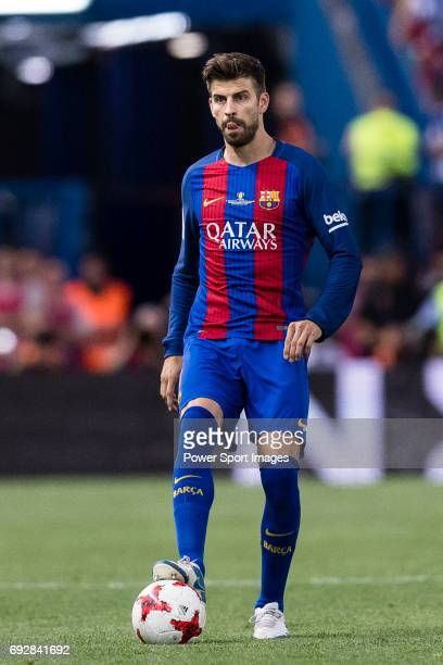Gerard Pique Bernabeu of FC Barcelona during the match for Copa Del Rey Final between FC Barcelona and Deportivo Alaves at Vicente Calderon Stadium...