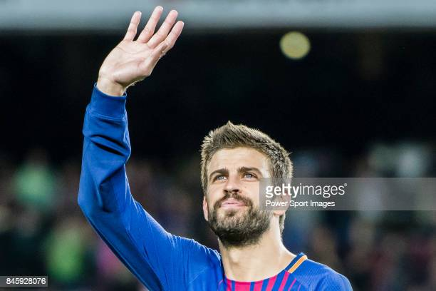 Gerard Pique Bernabeu of FC Barcelona gestures after winning the La Liga match between FC Barcelona vs RCD Espanyol at the Camp Nou on 09 September...