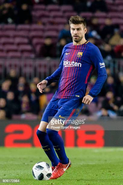 Gerard Pique Bernabeu of FC Barcelona in action during the Copa Del Rey 201718 match between FC Barcelona and Valencia CF at Camp Nou Stadium on 01...