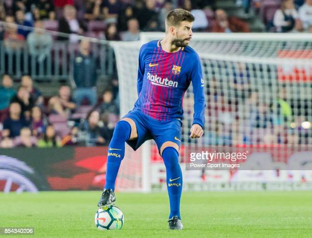 Gerard Pique Bernabeu of FC Barcelona in action during the La Liga 201718 match between FC Barcelona and SD Eibar at Camp Nou on 19 September 2017 in...
