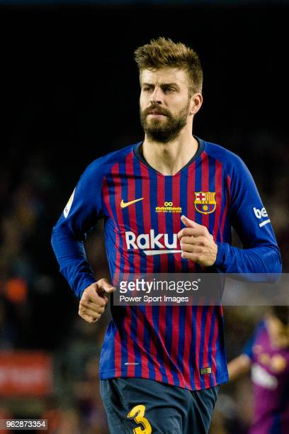 Gerard Pique Bernabeu of FC Barcelona in action during the La Liga match between Barcelona and Real Sociedad at Camp Nou on May 20 2018 in Barcelona