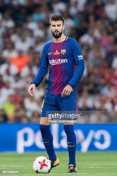 MADRID SPAIN AUGUST 16 Gerard Pique Bernabeu of FC Barcelona in action during their Supercopa de Espana Final 2nd Leg match between Real Madrid and...