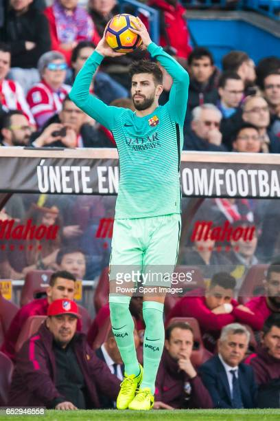 Gerard Pique Bernabeu of FC Barcelona in action during their La Liga match between Atletico de Madrid and FC Barcelona at the Santiago Bernabeu...