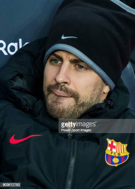 Gerard Pique Bernabeu of FC Barcelona looks on prior to the La Liga match between FC Barcelona and Levante UD at Camp Nou on 07 January 2018 in...