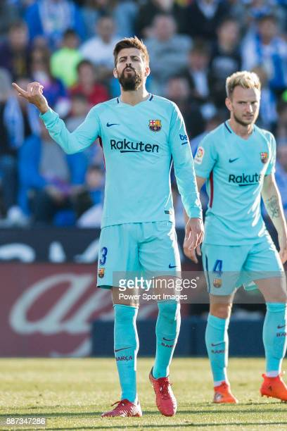 Gerard Pique Bernabeu of FC Barcelona reacts during the La Liga 201718 match between CD Leganes vs FC Barcelona at Estadio Municipal Butarque on...