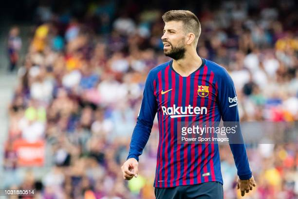 Gerard Pique Bernabeu of FC Barcelona reacts during the La Liga 201819 match between FC Barcelona and SD Huesca at Camp Nou on 02 September 2018 in...