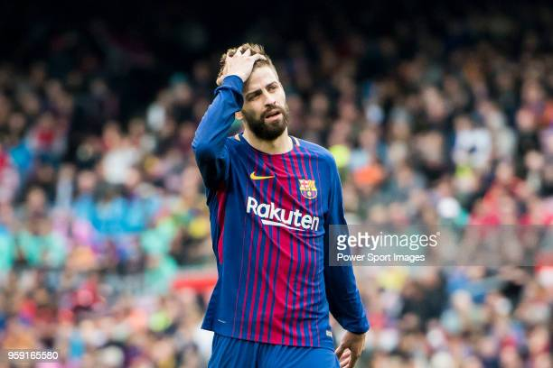 Gerard Pique Bernabeu of FC Barcelona reacts during the La Liga match between Barcelona and Valencia at Camp Nou on April 14 2018 in Barcelona Spain