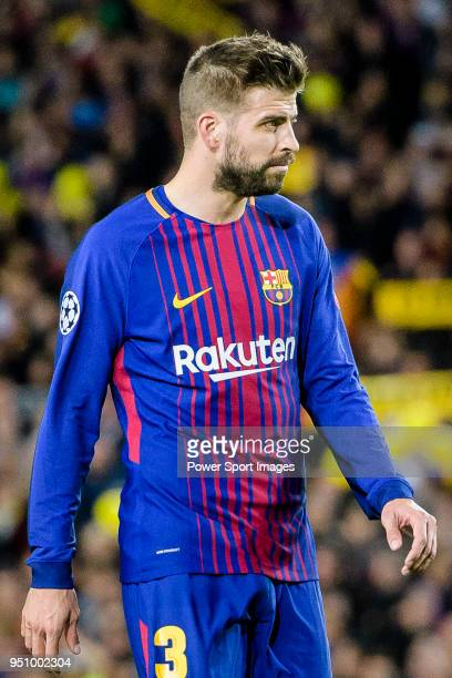 Gerard Pique Bernabeu of FC Barcelona reacts during the UEFA Champions League 201718 quarterfinals match between FC Barcelona and AS Roma at Camp Nou...