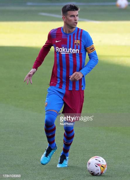 Gerard Pique during the friendly match between FC Barcelona and Club Gimnastic de Tarragona, played at the Johan Cruyff Stadium on 21th July 2021, in...