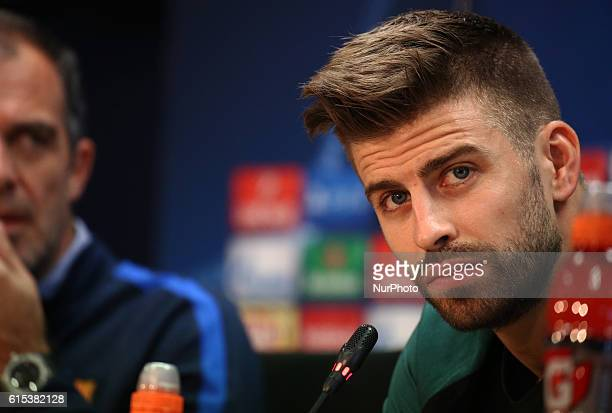 Gerard Pique during the press conference after the FC Barcelona training in Barcelona on October 18 2016