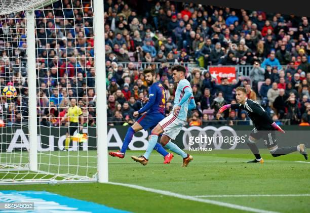 Gerard Pique fails a clear opportunity after dribbling goalkeeper Ruben Blanco during the La Liga match between FC Barcelona v Real Club Celta de...