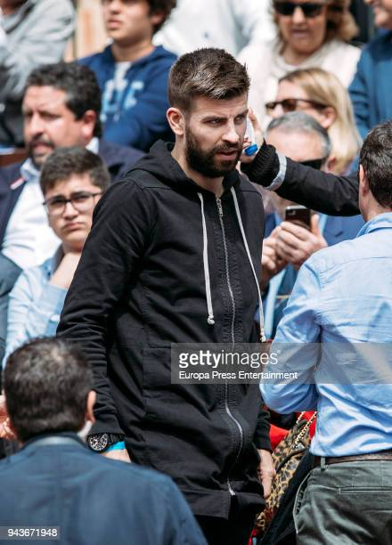 Gerard Pique football player of FC Barcelona attends the match between David Ferrer of Spain and Alexander Zverev of Germany during day one of the...