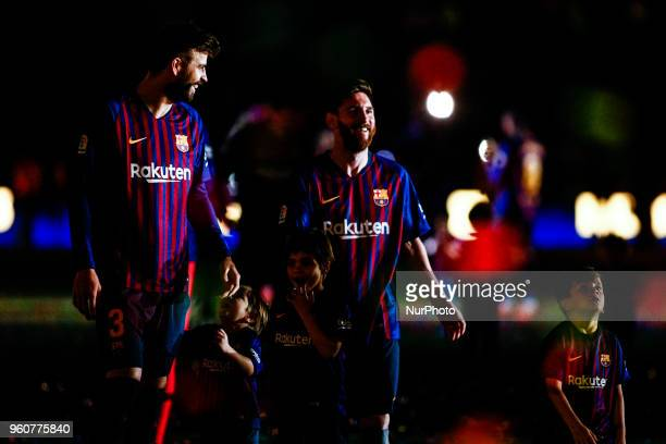 03 Gerard Pique from Spain of FC Barcelona and 10 Leo Messi from Argentina of FC Barcelona with their children during the Andres Iniesta farewell at...