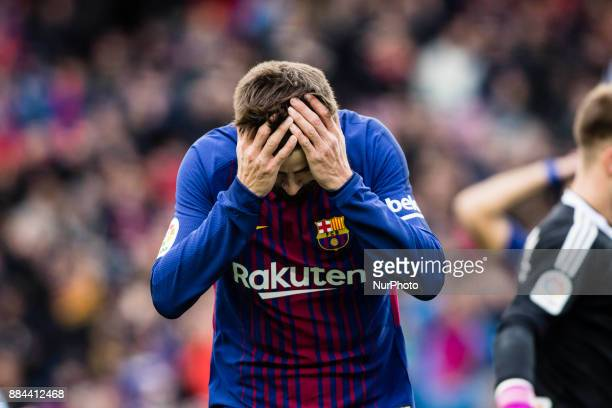 Gerard Pique from Spain of FC Barcelona lamenting a goal missed during the La Liga match between FC Barcelona v Celta de Vigo at Camp Nou Stadium on...