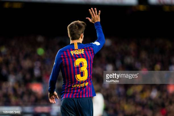 03 Gerard Pique from Spain of FC Barcelona pointing out the five goals of FC Barcelona with his hand during the Spanish championship La Liga football...