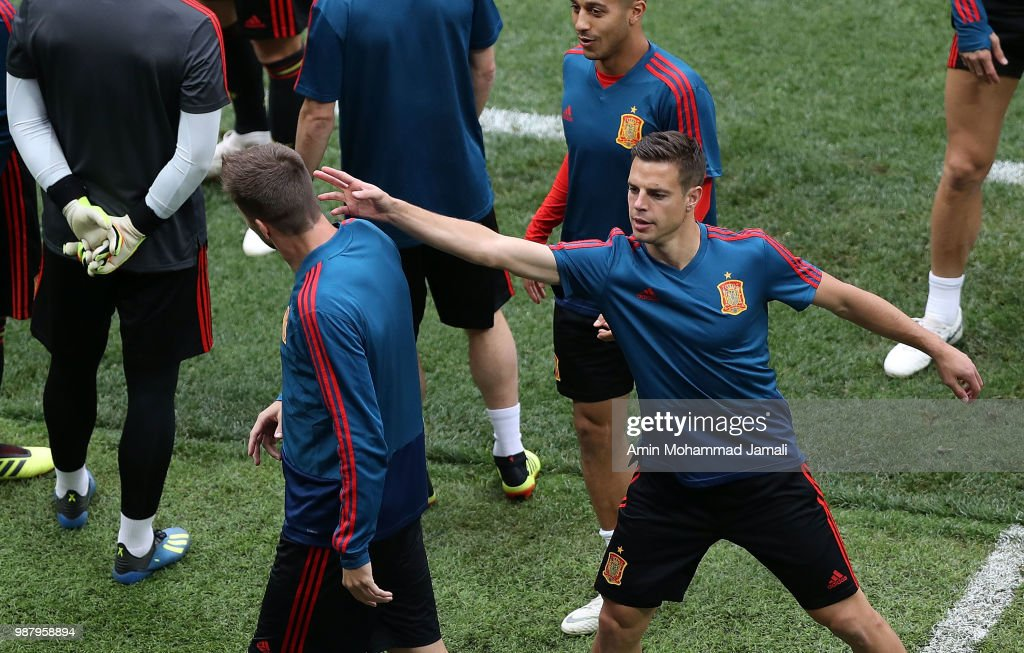 Gerard Pique in action in a Training Session before the Match between Spain and Russian at the Luzhniki Stadium in Moscow on June 30, 2018 in Moscow, Russia.