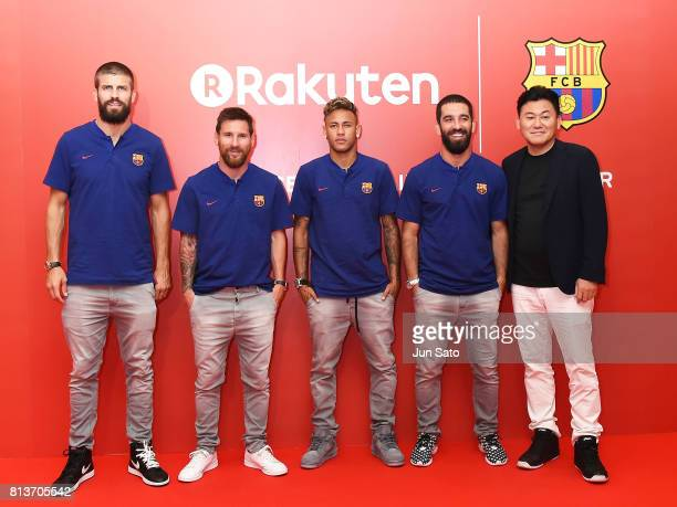 Gerard Pique Lionel Messi Neymar Jr Arda Turan and Rakuten CEO Hiroshi Mikitani arrive at the reception party for Rakuten FC Barcelona Global...