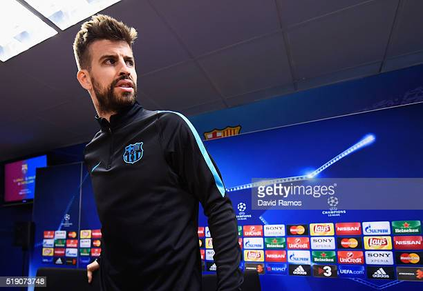 Gerard Pique looks on during a Barcelona press conference ahead of their UEFA Champions League quarter final first leg match against Atletico Madrid...