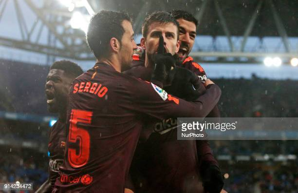 Gerard Pique Luis Suarez Sergio Busquets and Samuel Umtiti celebration during the match between RCD Espanyol vs FC Barcelona for the round 22 of the...