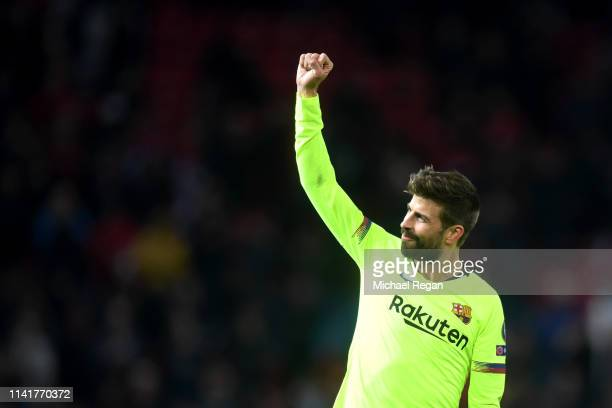 Gerard Pique of Barcelona celebrates following his sides victory in the UEFA Champions League Quarter Final first leg match between Manchester United...