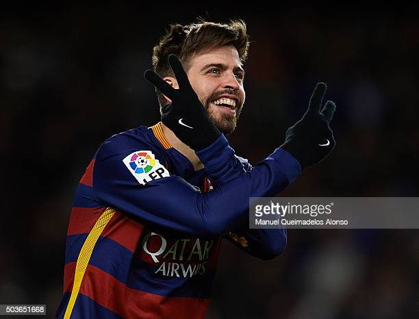Gerard Pique of Barcelona celebrates scoring his team's third goal during the Copa del Rey Round of 16 match between FC Barcelona and Real CD...