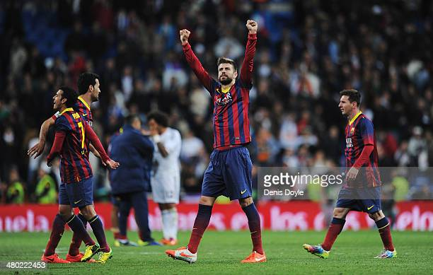 Gerard Pique of Barcelona celebrates victory after the La Liga match between Real Madrid CF and FC Barcelona at the Bernabeu on March 23 2014 in...