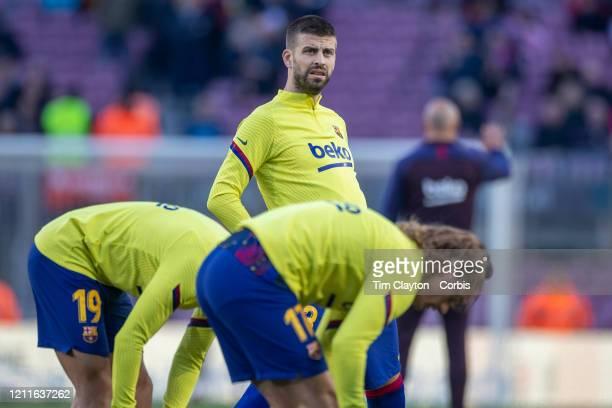 Gerard Pique of Barcelona during team warm up during the Barcelona V Real Sociedad La Liga regular season match at Estadio Camp Nou on March 7th 2020...