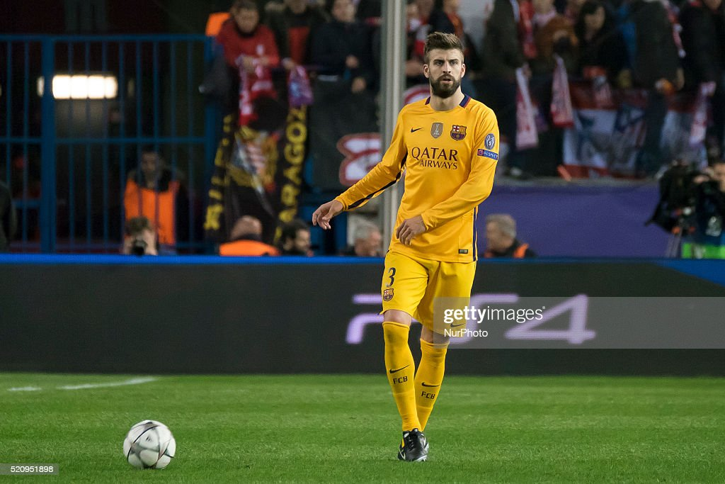 Gerard pique of Barcelona during the UEFA Champions League quarter final, second leg match between Club Atletico de Madrid and FC Barcelona at the Vincente Calderon on April 13, 2016 in Madrid, Spain.