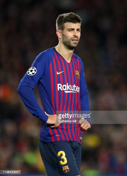 Gerard Pique of Barcelona during the UEFA Champions League Semi Final first leg match between Barcelona and Liverpool at the Nou Camp on May 01, 2019...