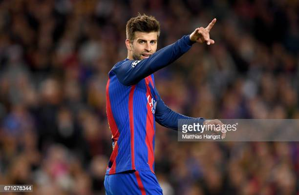 Gerard Pique of Barcelona gestures during the UEFA Champions League Quarter Final second leg match between FC Barcelona and Juventus at Camp Nou on...