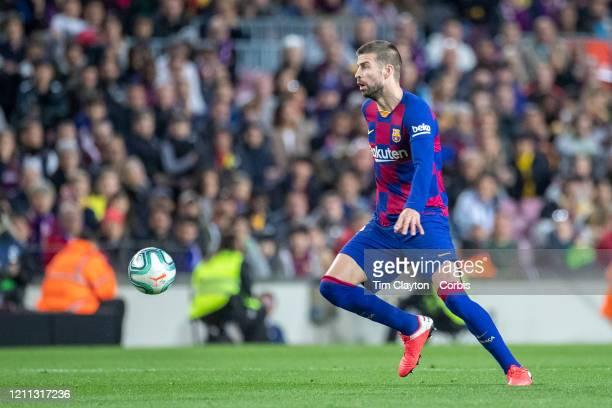 Gerard Pique of Barcelona in action during the Barcelona V Real Sociedad La Liga regular season match at Estadio Camp Nou on March 7th 2020 in...