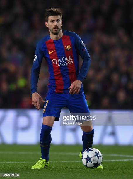 Gerard Pique of Barcelona in action during the UEFA Champions League Round of 16 second leg match between FC Barcelona and Paris SaintGermain at Camp...