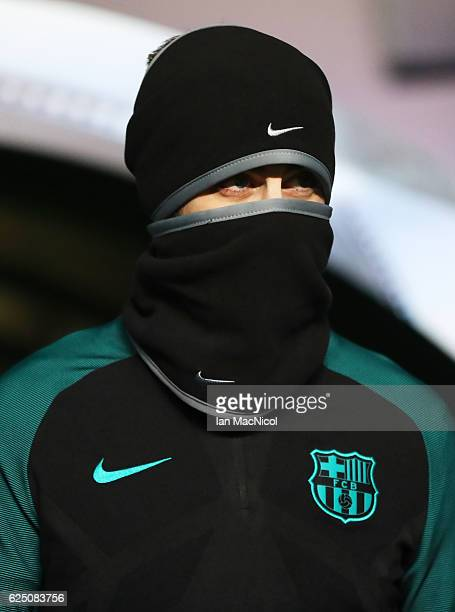 Gerard Pique of Barcelona is seen during a training session prior to the UEFA Champions League match between Celtic FC and FC Barcelona at Celtic...