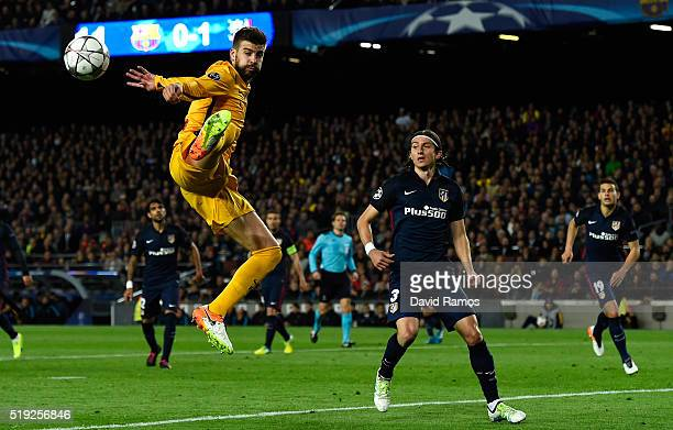 Gerard Pique of Barcelona jumps for the ball during the UEFA Champions League quarter final first leg match between FC Barcelona and Club Atletico de...