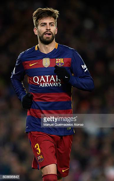 Gerard Pique of Barcelona looks on during the Copa del Rey Round of 16 match between FC Barcelona and Real CD Espanyol at Camp Nou on January 6 2016...