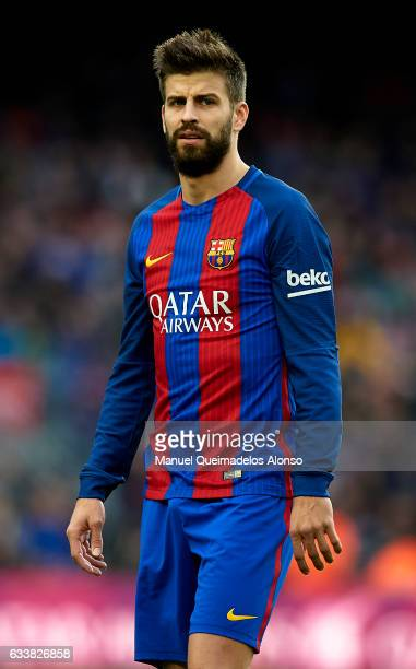 Gerard Pique of Barcelona looks on prior to the La Liga match between FC Barcelona and Athletic Club at Camp Nou Stadium on February 4 2017 in...