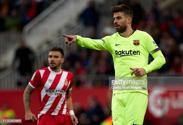 Gerard Pique of Barcelona reacts during the La Liga match between Girona FC and FC Barcelona at Montilivi Stadium on January 27 2019 in Girona Spain
