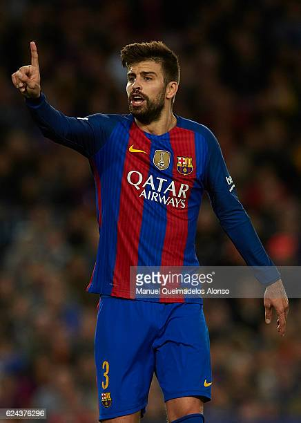 Gerard Pique of Barcelona reacts during the La Liga match between FC Barcelona and Malaga CF at Camp Nou stadium on November 19 2016 in Barcelona...