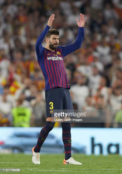 Gerard Pique of Barcelona reacts during the Spanish Copa del Rey Final match between Barcelona and Valencia at Estadio Benito Villamarin on May 25...