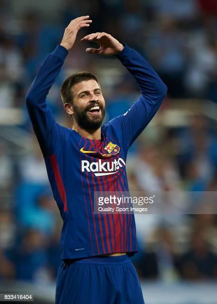 Gerard Pique of Barcelona reacts during the Supercopa de Espana Supercopa Final 2nd Leg match between Real Madrid and FC Barcelona at Estadio...