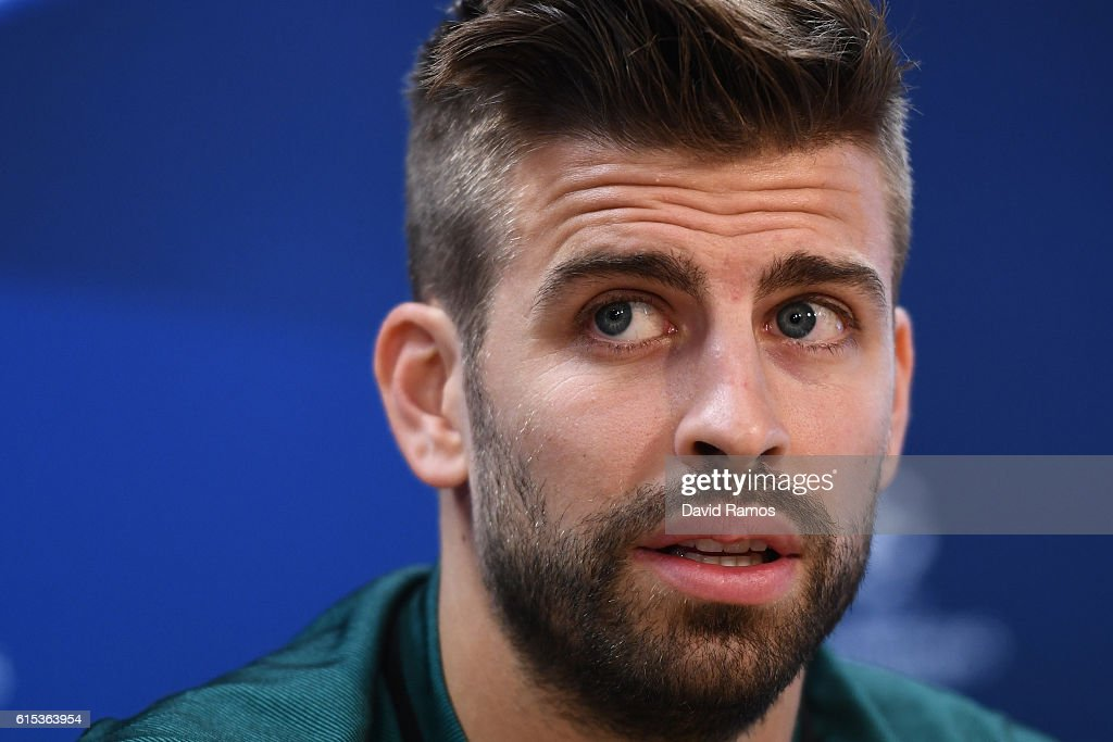 Gerard Pique of Barcelona speaks to the media during the FC Barcelona training session at Ciutat Esportiva Joan Gamper on October 18, 2016 in Barcelona, Spain.