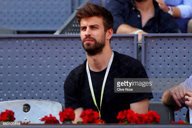 Gerard Pique of Barcelona watches play during day three of the Mutua Madrid Open tennis at La Caja Magica on May 8 2017 in Madrid Spain