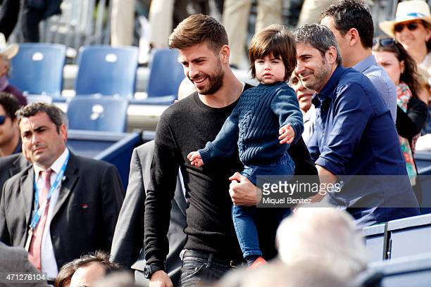 Gerard Pique of FC Barcelona and Milan Pique attend the final Kei Nishikori of Japan against Pablo Andujar of Spain during the Barcelona Open Banc...