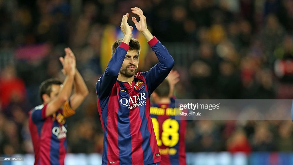 Gerard Pique of FC Barcelona applauds the supporters after winning the La Liga match between FC Barcelona and RCD Espanyol at Camp Nou on December 7, 2014 in Barcelona, Spain.