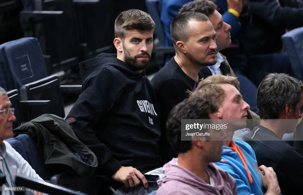 Gerard Pique of FC Barcelona attends the doubles match of countrymen Feliciano Lopez and Marc Lopez of Spain (they won) on day 1 of the Rolex Paris Masters 2017, a Masters 1000 ATP World Tour event held at AccorHotels Arena on October 30, 2017 in Paris, France.